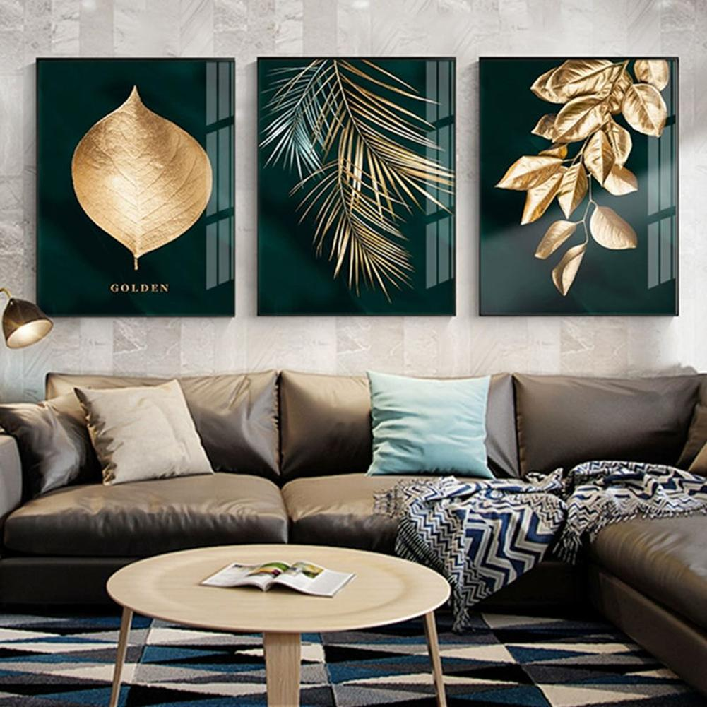 Abstract Golden-Plant Leaves Picture Wall Poster Modern Style Print Painting Art Aisle Living Room Unique Decoration No Frame