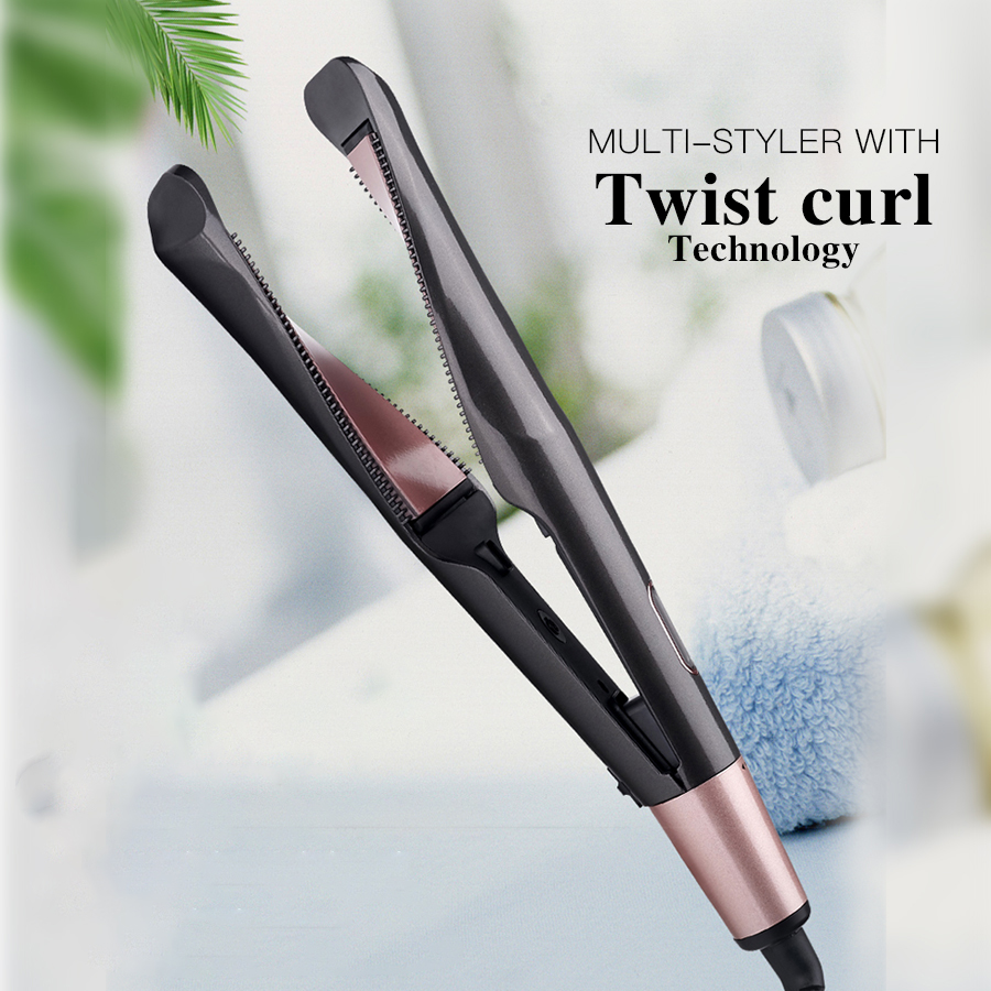 Professional Flat Iron LED Hair Straightener Twisted Plate 2 In 1 Ceramic Curling Iron Hair Curler For All Hair Types