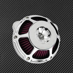 Image 2 - Motocykl chrom filtr powietrza filtr wlotowy filtr CNC dla Harley Sportster XL883 48 Touring Dyna Super Glide ulica Bob Softail