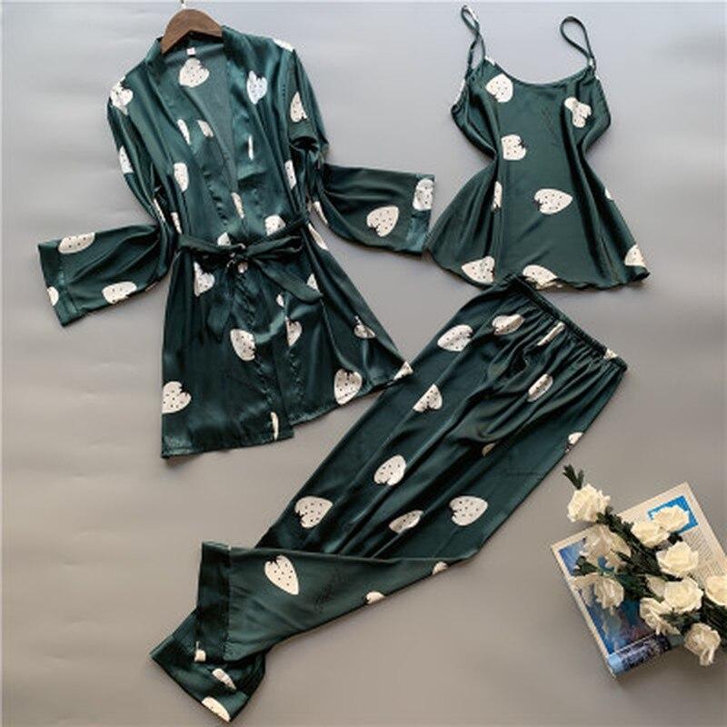 QWEEK Women Pajama Set 3 Pieces Nightwear Satin Floral Lingerie Pyjama Clothes For Sleeping Lounge Wear Sleep Wear Women Pijama