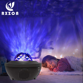 Starry Star LED Night Light Water Wave LED Projector Light Bluetooth Projector Sound-Activated Projector Lamp Sleeping Light