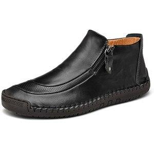 Image 3 - Nuevos zapatos de cuero para hombre, para Otoño Invierno, cosido a mano, suaves, resistentes al desgaste, con cremallera lateral, zapatos casuales de moda