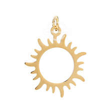 5pcs Stainless Steel Gold Sun Charms Pendant Bracelets Necklace Jewelry Findings Making Craft DIY 24mm