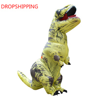 Inflatable Costume Fan Operated Dinosaur T REX Costume Cosplay Blow Up Dino Mascot Halloween Costume for Men Women