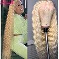 Парик средней части 613 блонд на сетке спереди, длинные волнистые человеческие волосы, раньше выщипанный бразильский парик 13*1, парик на сетке...