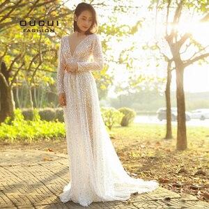 Image 4 - Oucui Robe De mariée élégante, en paillettes, Illusion brillante blanche, style Boho, Robe De mariée transparente, style bohème, 2020