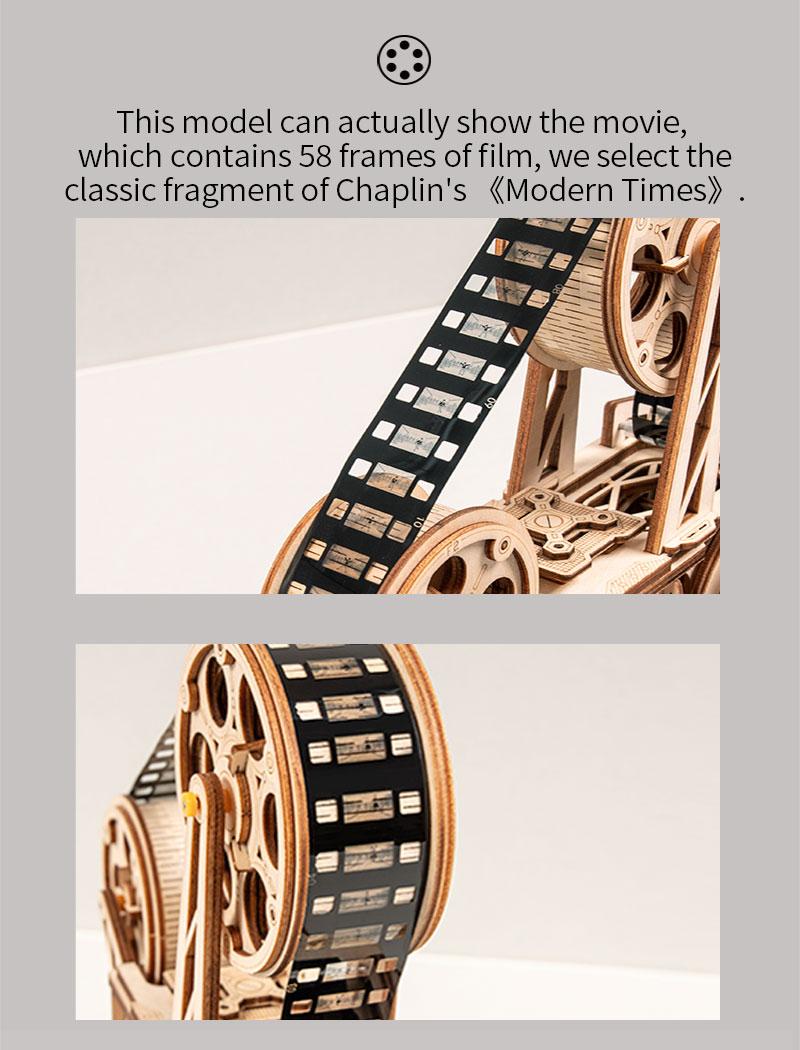 183Pcs Retro DIY 3D Hand Crank Film Projector Wooden Model ...