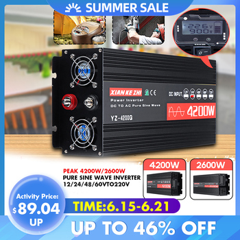 цена на Inverter 220V 12V/24V/48/60V2600/4200W Voltage transformer Pure Sine Wave Power Inverter DC12V to AC 220V Converter+LCD Display