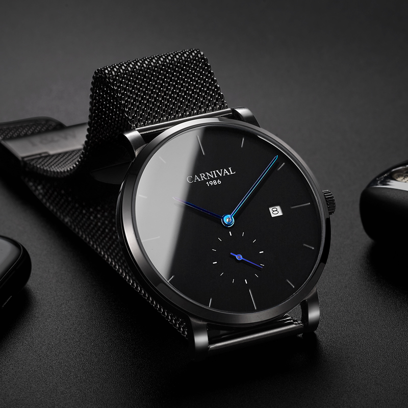 Carnival Men Automatic Watch Black Mesh Band Brief Ultra Thin Small Seconds Dial Luxury Mechanical Watch Simple Business Watch