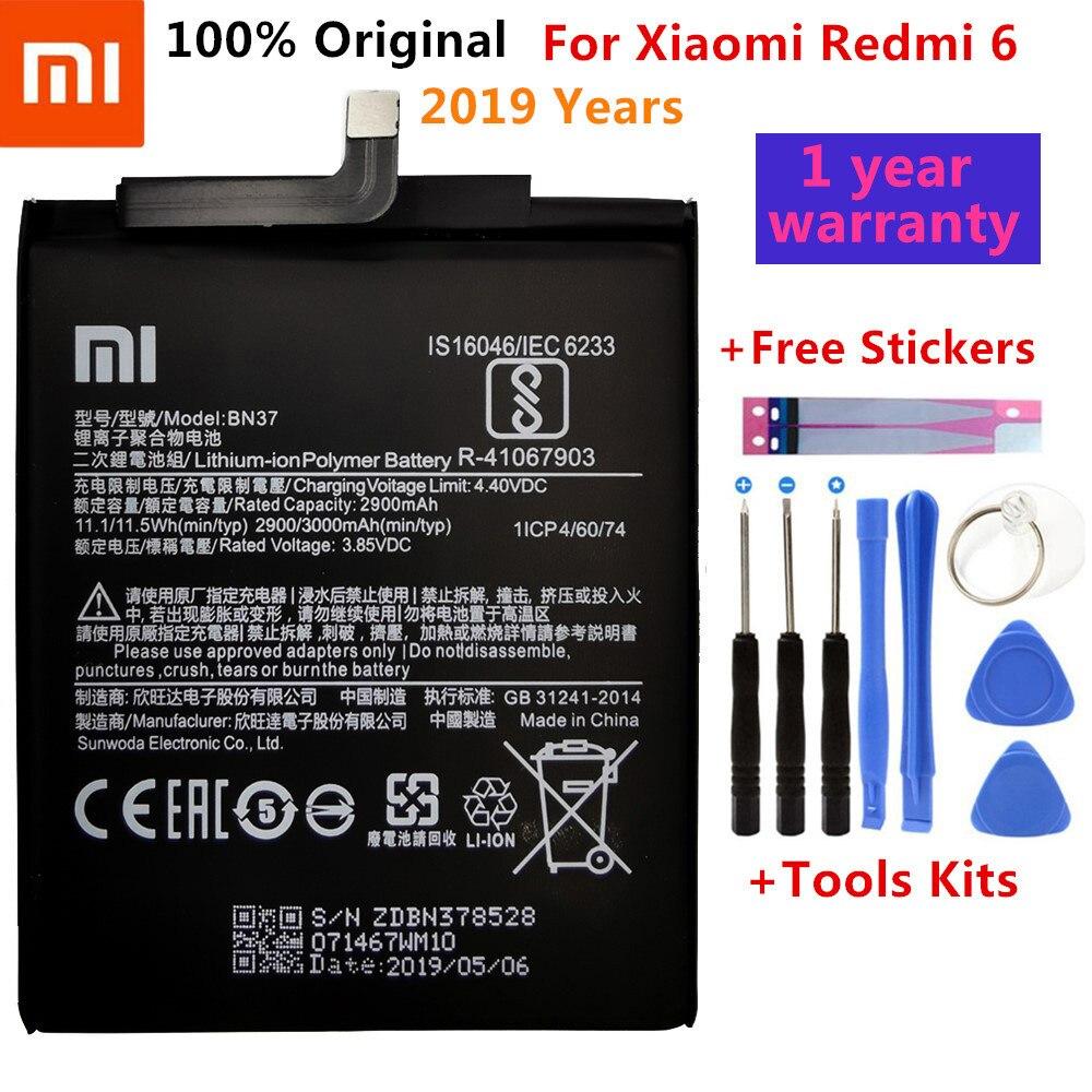 Оригинальный аккумулятор Xiao Mi BN37 для Xiaomi Redmi 6 Hongmi 6A, сменный аккумулятор 2900 мАч, розничная упаковка + инструмент