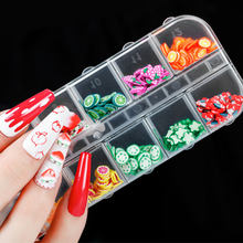 1Box12 Grid Nail Soft Clay Fruit Decoration Mixed Set Watermelon Strawberry Cherry Mini Flower Nail Art Accessories DIY