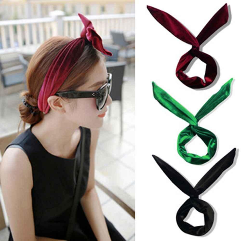Elastic Cross Velvet Classic Color Hair Belt Girl Headband Accessories Black Hair Bands Tie for Women Leisure Girls Bows