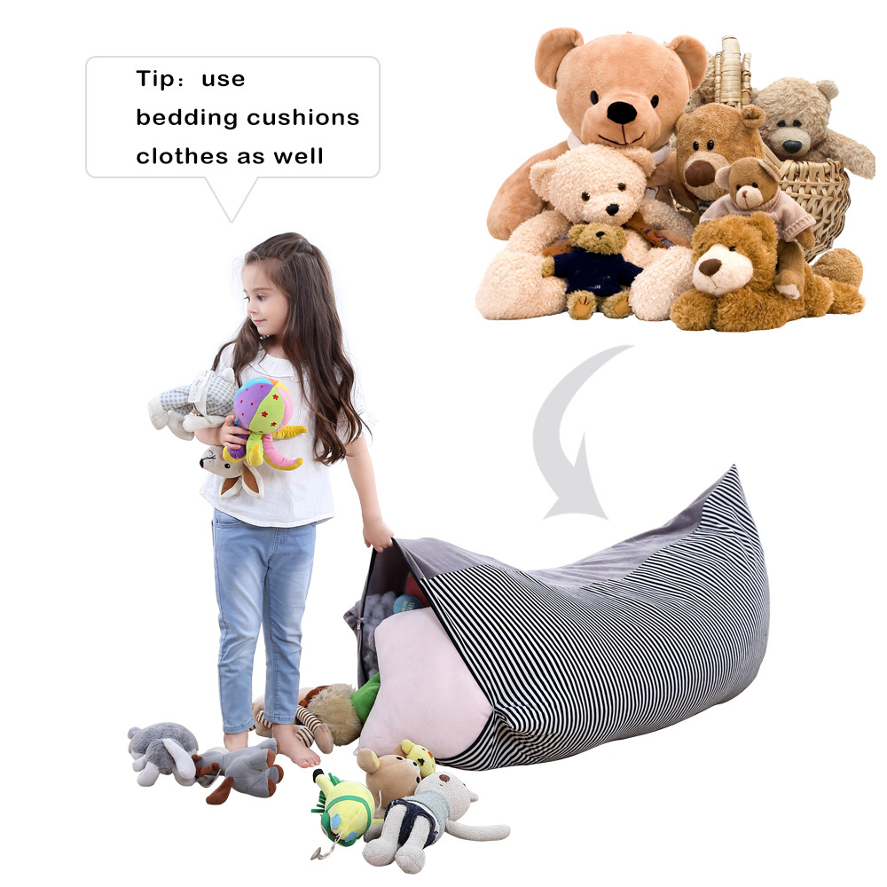 Stuffed Animal Storage Bean Bag Chair Triangle Bean Bag Cover Kid Floor Sofa For Kids  Adults With Extra Long Zipper Opening