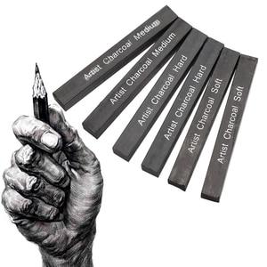 6 sztuk skompresowany węgiel drzewny kwadratowy miękki/średni/twardy grafitowy ołówek dostawa sztuki węgiel drzewny s do malowania