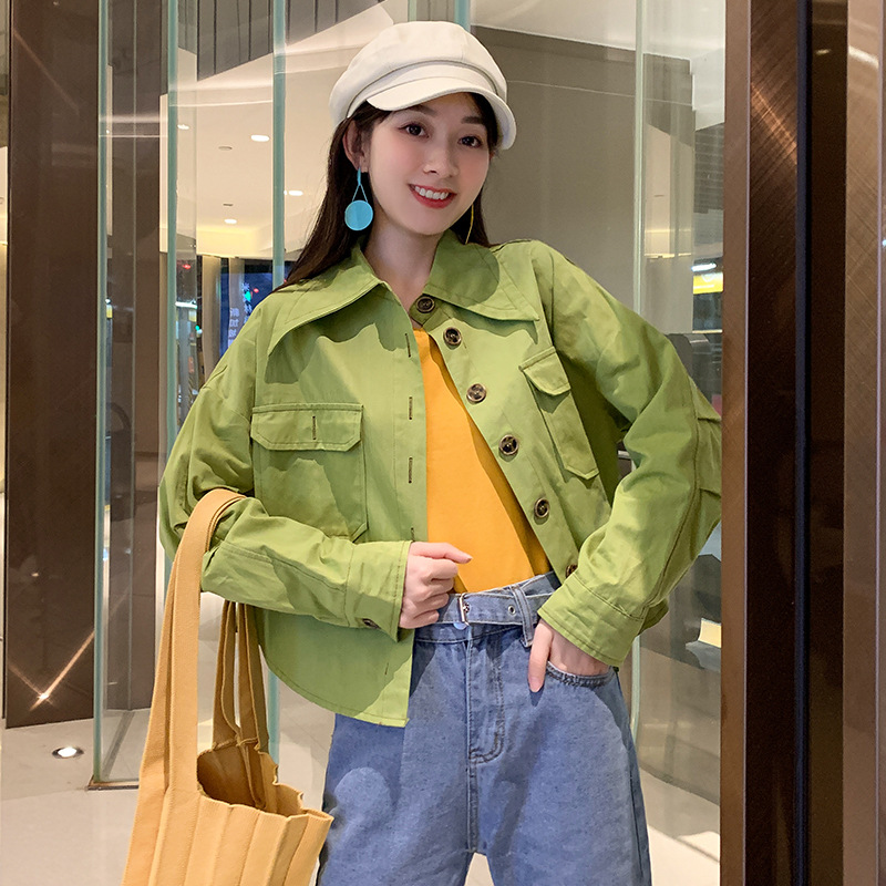 Women Outwear Fashion Green Orange   Basic     Jackets   Coats New Free Size Ladies Streetwear BF Style Turn-down Collar Clothing Cloth