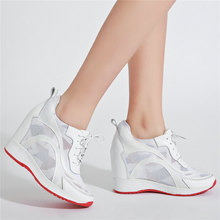 fashion sneakers women lace up genuine leather wedges high heel vulcanized shoes female square toe platform pumps casual shoes Women Breathable Genuine Leather Platform Wedges High Heel Pumps Shoes Female Lace Up Round Toe Fashion Sneakers Casual Shoes