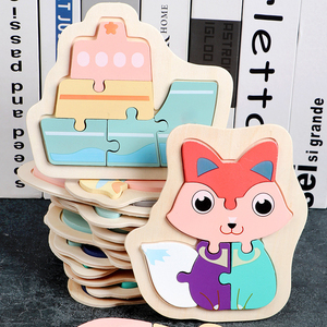 1pc Wooden 3D Puzzle Baby Toy Cartoon Animal/Traffic Puzzle Educational Toy Color Cognition Baby Children's Educational Toy