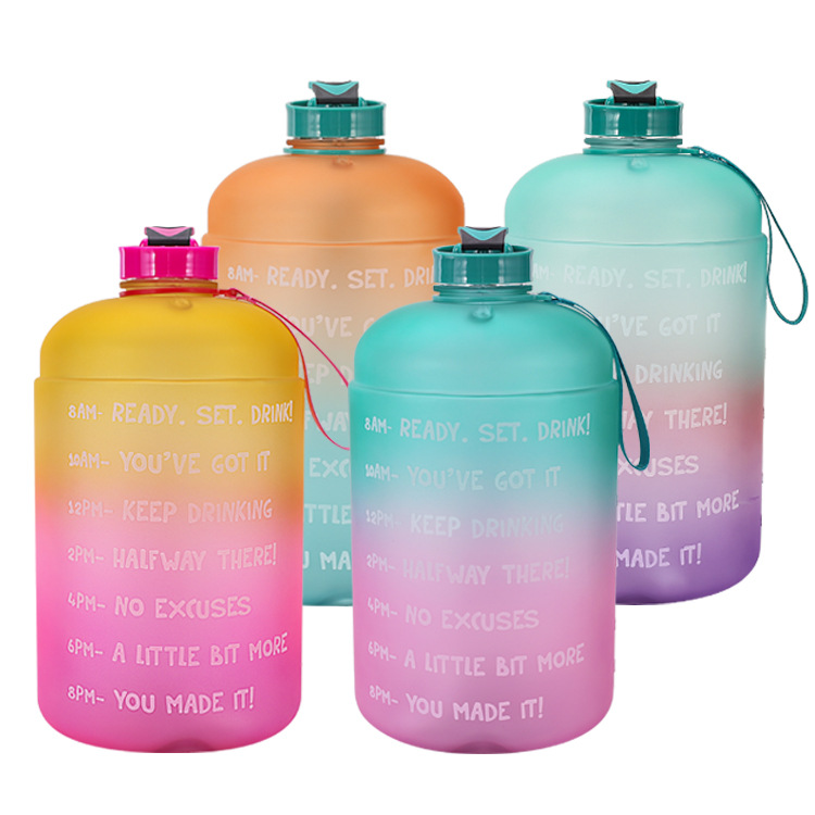 3.78L Water Bottle with Straw 1 Gallon Large Gradient Color Bucket Fitness Outdoor Sports Accessory
