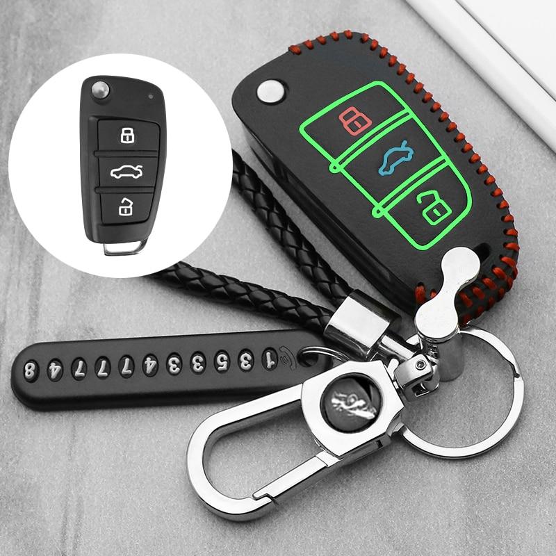 Luminous leather car key case Cover For Chery Key Case Protecting Holder ARRIZO7 E3 E5 A3 A5 Tiggo 3 5 Fulwin2 Eastar Remote(China)