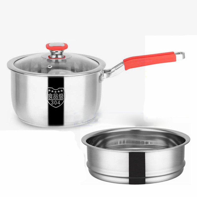 Milk Pot Stainless Steel Soup Pot 16CM18CM Small Pot Three-layer Bottom Mini Baby Food Supplement Pot Small Steamer Home Kitchen