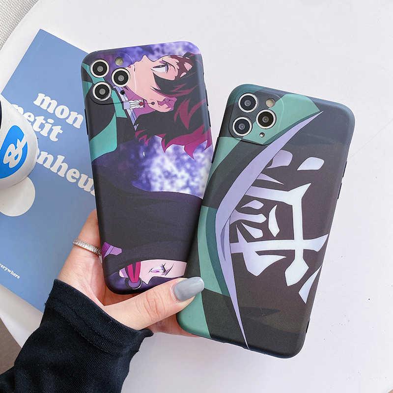 Custodia per demone Anime giapponese per Iphone 12 11 Pro XS Max 7 8 Plus X XR custodie per telefoni Cartoon Kimetsu No Yaiba custodia morbida in ...