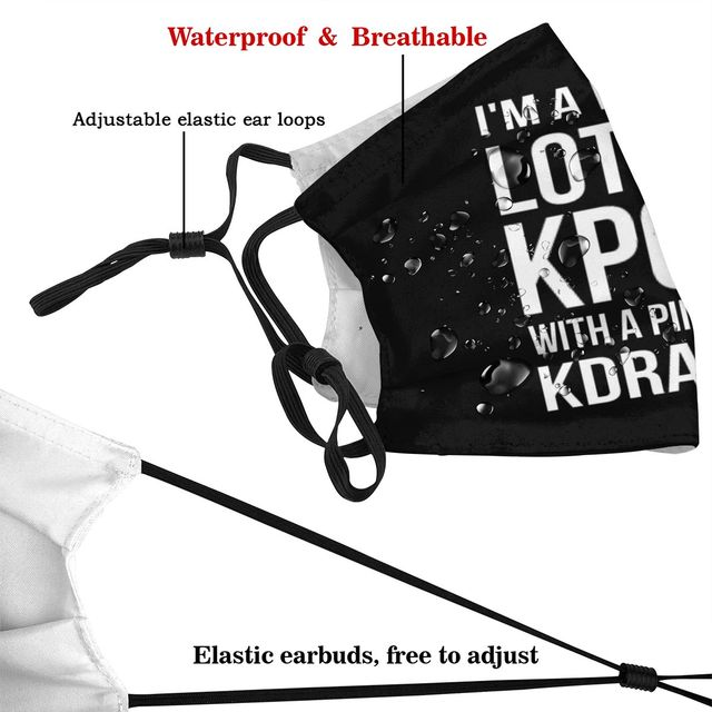 Kpop Lot Mouth Face Mask A LOT OF KPOP BLACK Facial Mask with 2 Filters for Adult Cool Polyester Mask 3