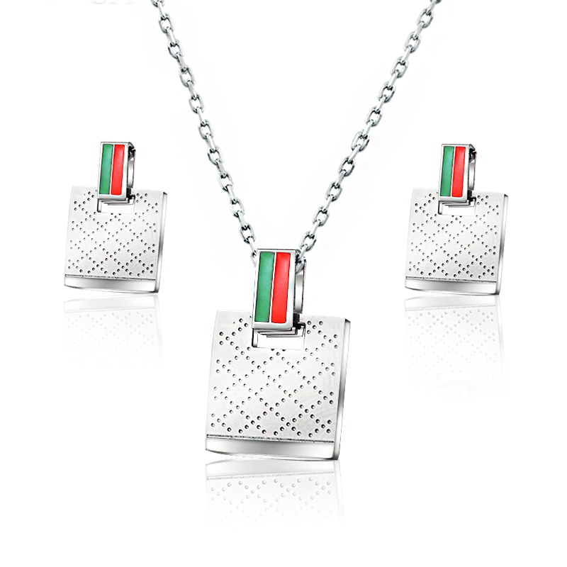Baoyan Dubai Gold Wedding Bridal Jewelry Set Women Ladies Jewellery Silver Rectangle Stainless Steel Sets For