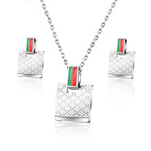 Baoyan Dubai Gold Wedding Bridal Jewelry Set Women Ladies Jewellery Gold Silver Rectangle Stainless Steel Jewelry Sets For Women(China)