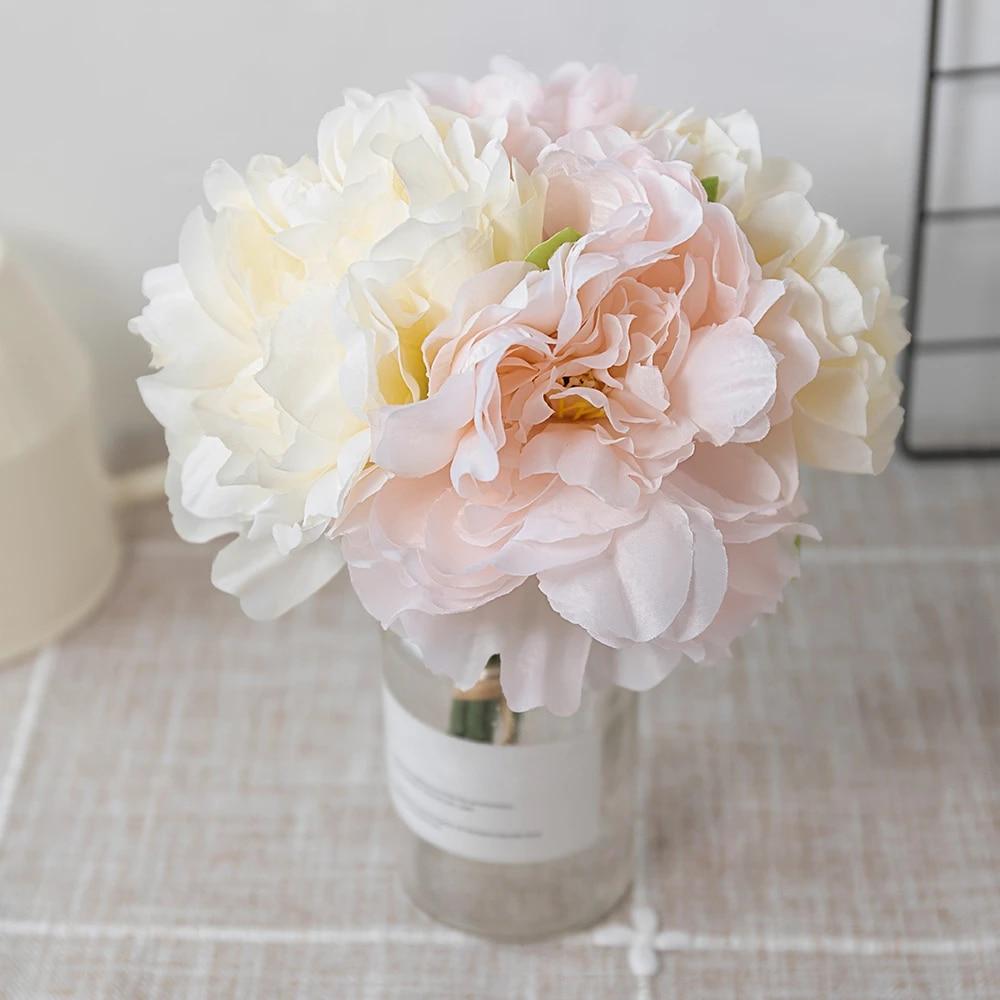 4pcs Beautiful Silk Peony Artificial Flowers Bouquet White Big Faux Fake Flower Home Decoration Wedding Party Diy Arrange Blue Artificial Dried Flowers Aliexpress