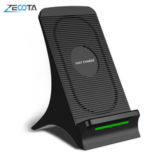 Wireless Charger  2 Coil Qi Stand Fast Charge with Cooling Fan for iPhone 8 10 X Samsung Note  S6/S7 Edge Pad Docking Station