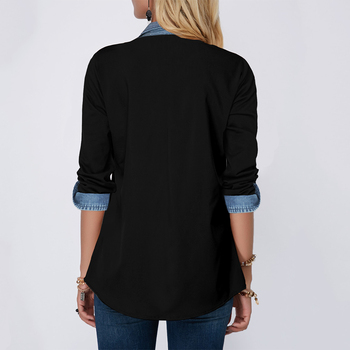 Stitching Denim Shirts Fashion Girls Long Sleeve Turn-down Collar Blouses Woman 2020 Spring New Women Jean Tops Casual Shirt D30 2