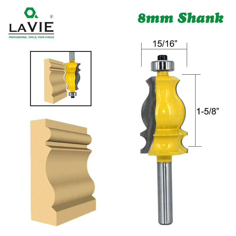 LAVIE 1pc 8MM Shank Special Architectural Handrail Molding Router Bit Woodworking Cutter Milling For Wood Bit Face Mill MC02072