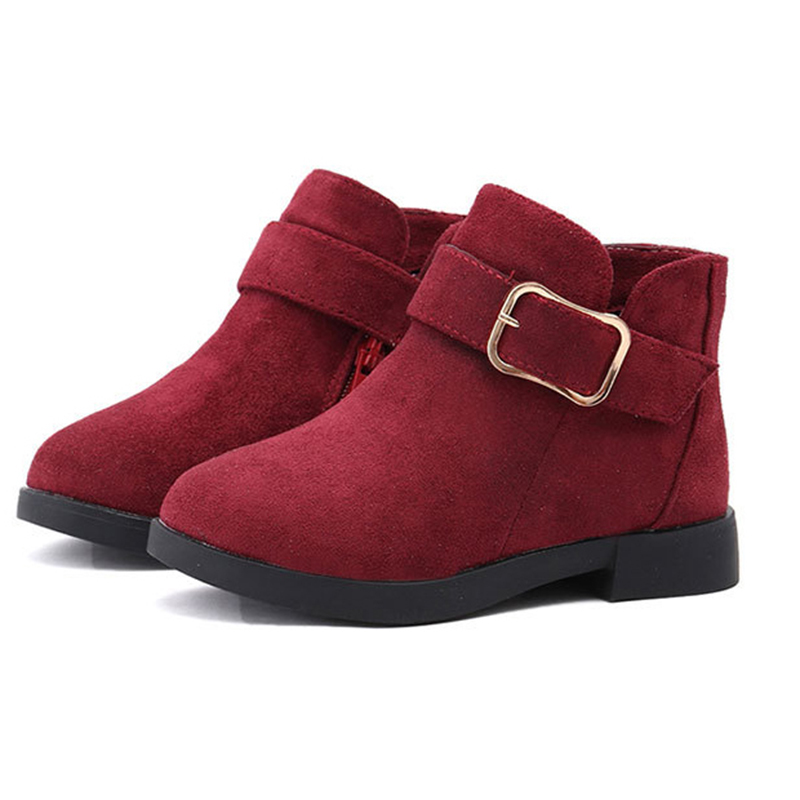 Teens Girls Winter Short Ankle Boots For Girls School Khaki Wine Red Grey Suede Leather Martin Boots 5 6 7 8 10 11 12 Years New
