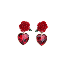 2019 Newest Red Resin Rose Crystal Heart Earrings for Girl Summer Dress Accessories Decoration