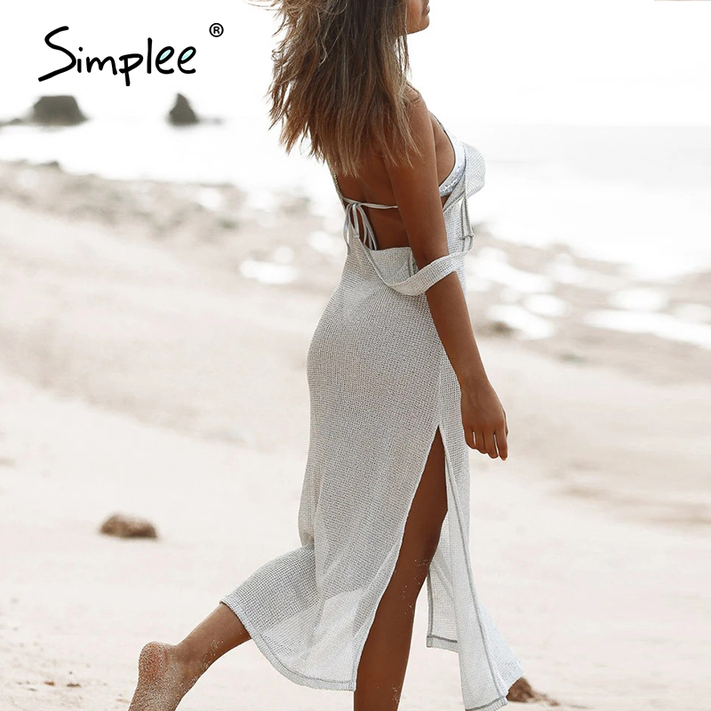 Simplee casual beach summer 2020 loose women cover-up dress swimwear solid hollow out sexy backless cover-ups plus size swimsuit