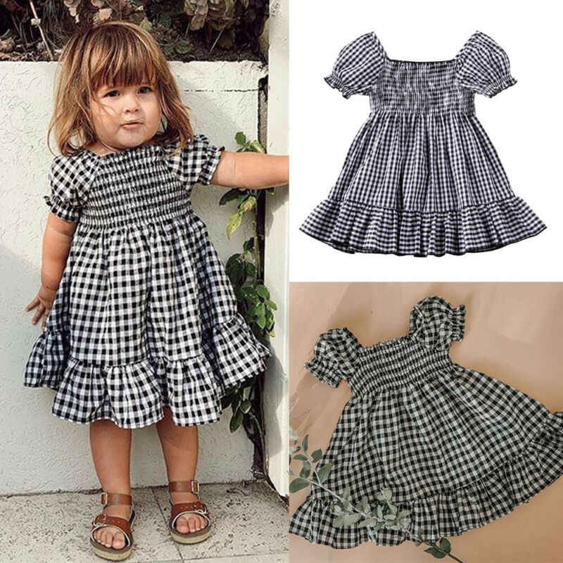 Emmababy Toddler Kids Baby Girls Dress Short Sleeve Lovely Ruffle Dress Short Sleeve Party Dresses Summer