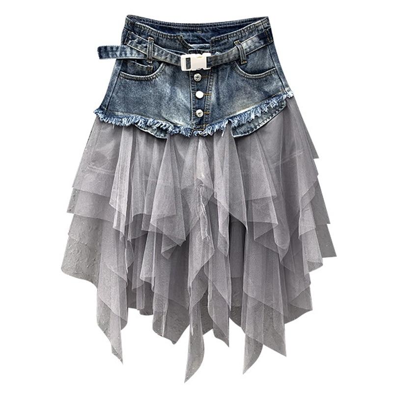 Summer Mini Tutu Tulle Skirt Gothic Punk Women High Waist Irregular Denim Skirt Sexy Club Party Mesh Patchwork Short Jeans Skirt