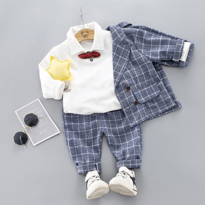 Image 2 - Boys Clothing Sets Plad Suit 3PCS Kids Boys Formal Suit Sets Children Jacket + Pants + Shirt with Bow Clothing Set