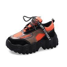 Sneakersy na wysokiej podeszwie damskie masywne buty do chodzenia kosz Femme pomarańczowe trampki 2020 damskie czarne trampki tanie tanio Moxxy Szycia Stałe Dla dorosłych Cotton Fabric RUBBER Wiosna jesień Med (3 cm-5 cm) Lace-up Pasuje prawda na wymiar weź swój normalny rozmiar