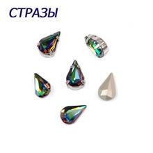 CTPA3bI 4300 Pear Shaped Crystal Vitrail Medium Beads Glass Strass For Jewelry Bracelet Making Decorating Needlework Accessories