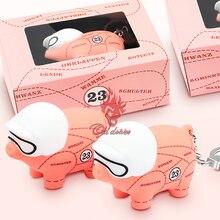 1x rosa porco chaveiro para porsche macan s3 s4 carrera 4 taycan targa para panamera para caiena decoração chave do carro pingente