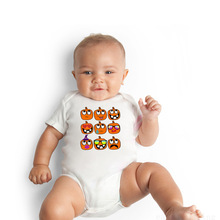 Infants and young children cartoon baby pumpkin expression pattern round collar short sleeve climb clothes 1 pcs comfortable cows drawer small infants two colors high quality baby toilet for young children as baby care