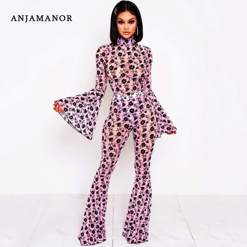 ANJAMANOR Floral Print Pink Sexy Two Piece Set Party Club Outfits Bodysuit Bell Bottom Pants 2pcs Women Clothing 2020 D42-AD30