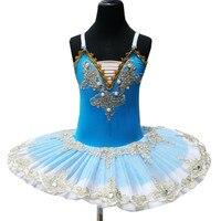 Professional Ballet Tutu For Children Blue Swan Lake Costume White Ballet Dress For Children Pancake Tutu Girls Dancewear
