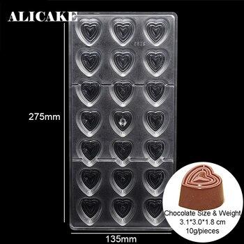 Moldes de barras de caramelo de Chocolate con formas de corazón Fondant bandeja de plástico de policarbonato Moldes para repostería y pastelería herramientas de horneado Moldes