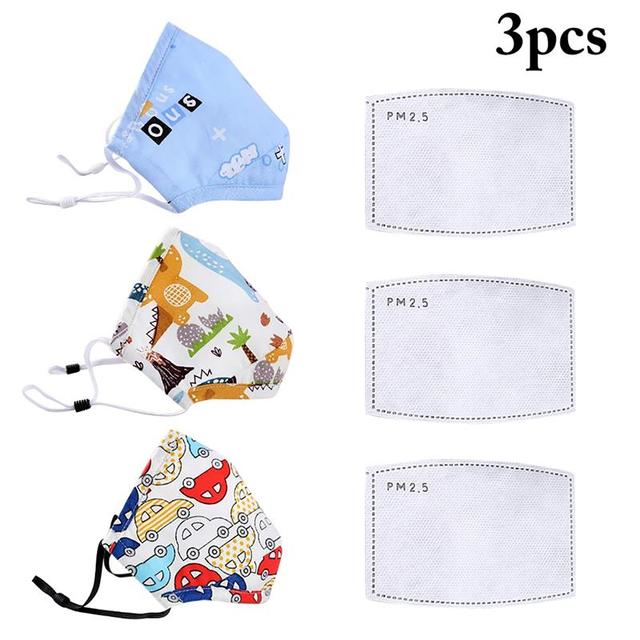 3pcs/set Kids Cartoon Printing Mouth Masks Dustproof Washable PM2.5 Filter Mask Mouth Cover With Filter Pad Clothing Accessories