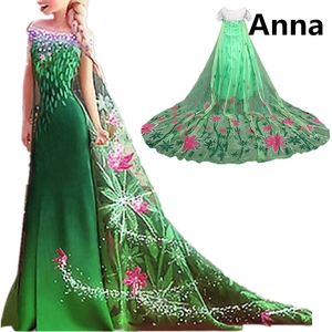 Princess Anna Elsa Dress For Girl Halloween Green Costume Kids Dresses For Girls Carnival Disguise Party Wear 4 8 10 Yrs Child(China)