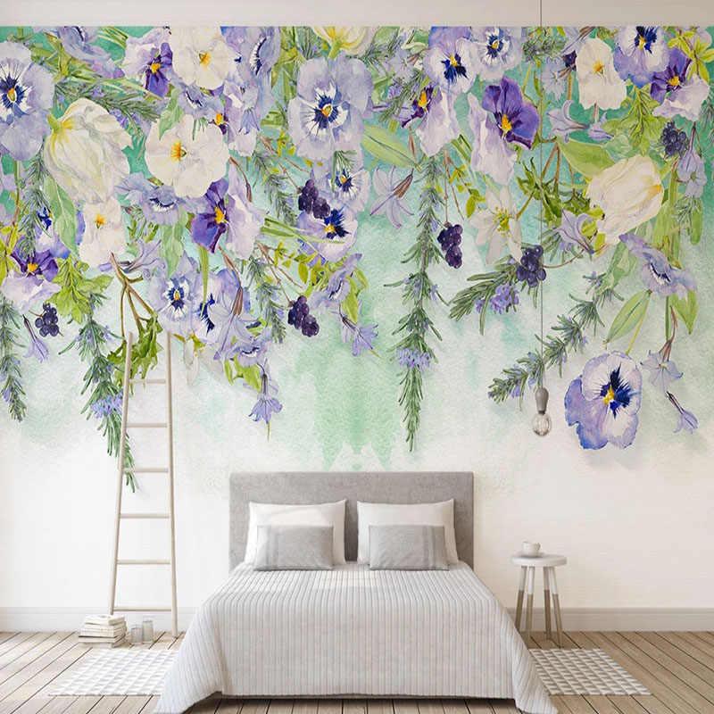 العرف صور خلفيات الحديثة بسيطة رسمت باليد زهرة الورد الجداريات غرفة المعيشة أريكة التلفزيون غرفة نوم حائط الخلفية خلفية ديكور