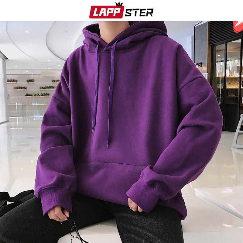 LAPPSTER Men Fleece Colorful Hoodies 2019 Autumn Mens Hip Hop Solid Hooded Sweatshirts Korean Fashions Black Winter Hoodie