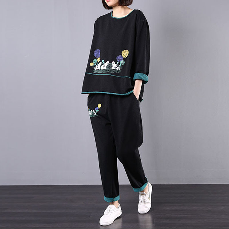 Autumn New Korean Cotton Tracksuit Ladies Cartoon Tops And Pants Women Printed Two Pieces Sets Casual Vintage Outfits AA284S30
